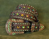 ANDROMEDA  belt, Brown Leather with Vitrail Medium and Peridot Swarovski Crystals and a Kippy Buckle