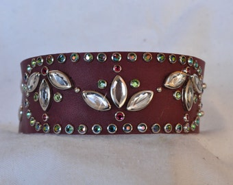 WATER LILY CUFF - Crystal Flowers on Burgundy Leather with Peridot, Ruby, and Iridis Crystals