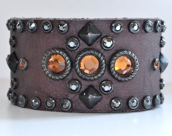 DAKOTA CUFF - Brown Leather Cuff with Black Studs and Smoked Topaz and Hematite Swarovski Crystals