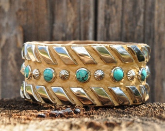 RIBBONS CUFF - Bison Leather Cuff with Turquoise and Silver Stud Lacing