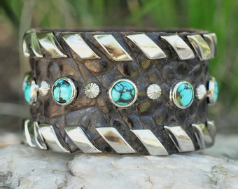 """RIBBONS CUFF - Wide Leather Cuff with Turquoise and Silver Stud Lacing, 1 1/2"""" wide"""