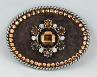 OVAL BELT BUCKLE with a Vintage Brooch and Faceted Crystal Cabochon on Brown Suede