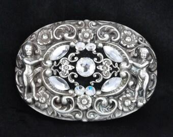 BRIGHTON CHERUB BUCKLE - Silver Brighton Buckle with a Rose Cut Swarovski Crystal, Crystal Navettes, Silver Filigree on Black Suede