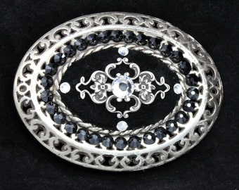 BRIGHTON FILIGREE BUCKLE - Brighton Buckle Decorated with Silver Filigree and Swarovski Hematite and Clear Crystals on Black Suede