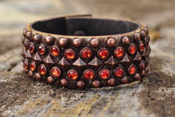 SNAKE EYES CUFF - Leather Hair On Cuff with Indian Red Crystals and Brown studs, Autumn Colors