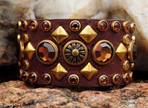 MONTANA GOLD CUFF -  Brown Leather Cuff with Colorado Topaz and Copper Crystals in Gold Settings and Studs
