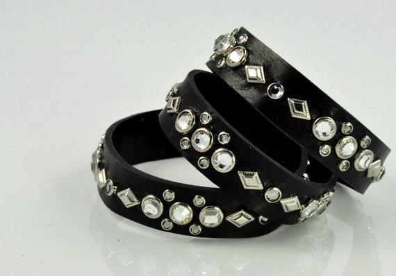 MONTANA Triple Wrap Bracelet - Swarovski crystals on Black Leather
