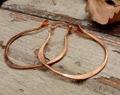 Gypsy - Medium Copper Hoops - Metalwork Earrings - Artisan