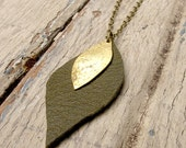 SALE Sepia Tinted Petals - Green Leather Necklace - Brass Metalwork Necklace - Artisan Tangleweeds Jewelry