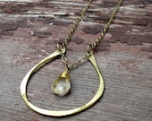 By Chance - Brass Horseshoe Pendant - Rutilated Quartz Necklace - Artisan Tangleweeds Jewelry
