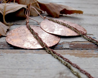 Full Moon Eclipse - Textured Copper Earrings - Artisan Tangleweeds Jewelry