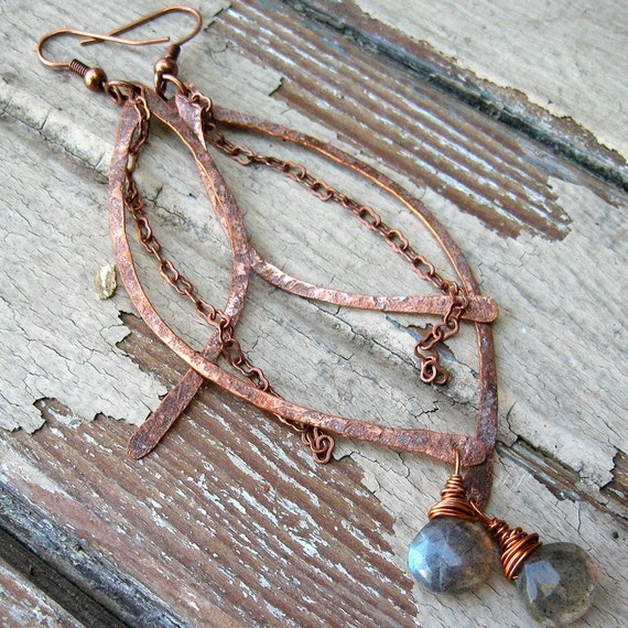 Antique Treasures - Metalwork Copper Earrings - Rustic Artisan Swoops - Labradorite Stones