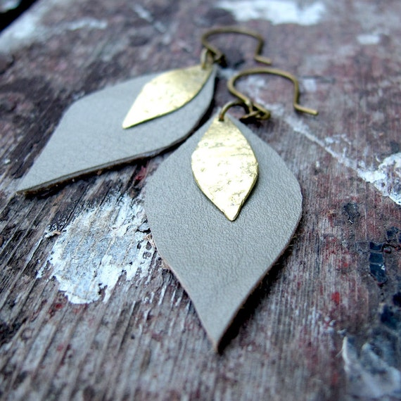 SALE Sepia Tinted Petals - Tan Leather Earrings - Brass Metalwork Earrings - Artisan Tangleweeds Jewelry