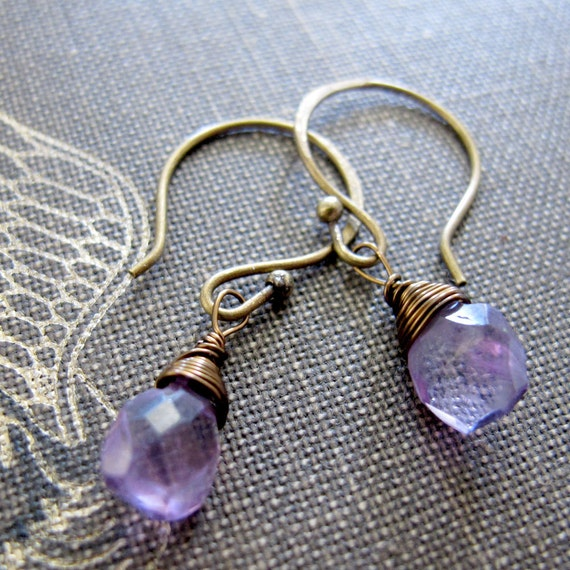 SALE Darlings - Amethyst and Brass Delicate Earrings - Artisan Jewelry