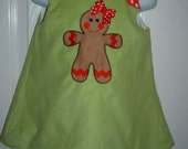 Girl's Gingerbread  dress Size 3mo to 5T Add Name for Free