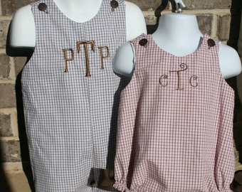 Matching Brother Sisiter Monogrammed Outfits