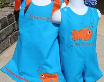 Matching Brother Sisiter Gold Fish Outfits Size 3mo to 4T and  Girls can be up to a 6