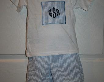 Boys Monogrammed short set Size 12mo to 5