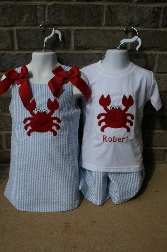 matching brother sisiter crab outfits