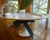 Cake Stand Dessert Pedestal Cupcake Pedestal Black and White Upcycled Serving Plate Home Decor Wedding Cake Stand