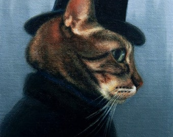 Mr. Hyde -  Blank Card of Original Oil Cat Painting by Nancy Cuevas