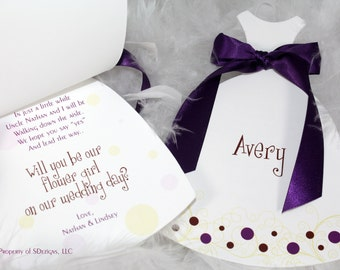Will you be my bridesmaid, Maid of Honor, Flower girl (Polkadot and Swirls Design)