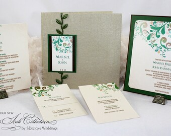 Whimsical Nature Hardcover Fabric Folio Wedding Invitation