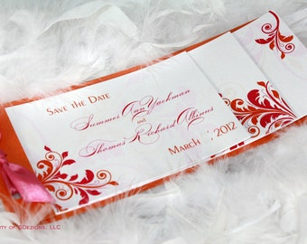 Gorgeous Orange and Pink Flourish - Save the date