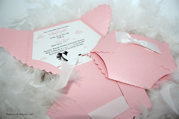 diaper baby shower invitation or baby announcement stork by, Baby shower