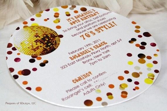 70s Disco Ball Birthday Invitation – 70s Party Invitations