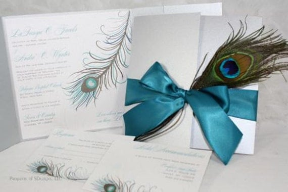 Peacock Feather Wedding Invitation: Peacock Wedding Invitations Silver And Teal Fabulous