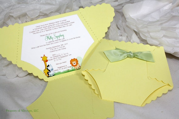 diaper baby shower invitation or baby announcement by sdezigns, Baby shower
