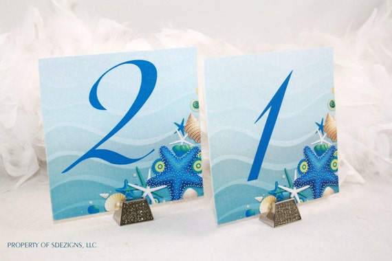 Sea Shells and Starfish Destination - Beach Wedding Table Numbers  (Set of 12)