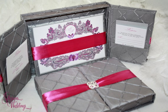 Gorgeous Pintuck Fabric Box Invitation - Orchids - Opulent Ink Collection