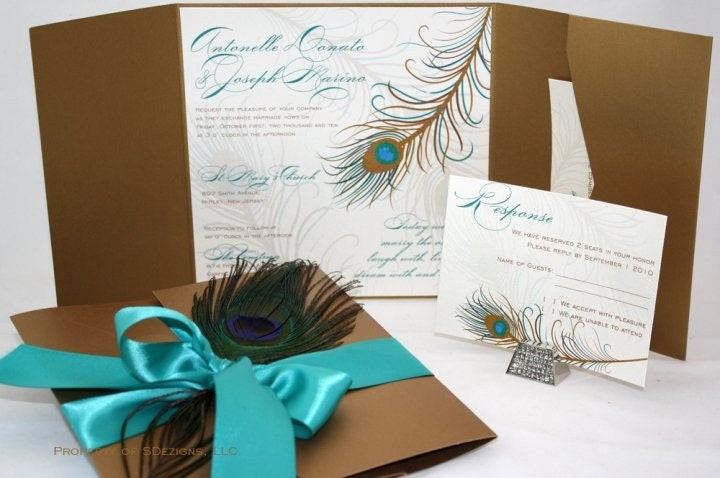 Peacock Feather Wedding Invitation: Peacock Wedding Invitations Fabulous Real Feather Chic