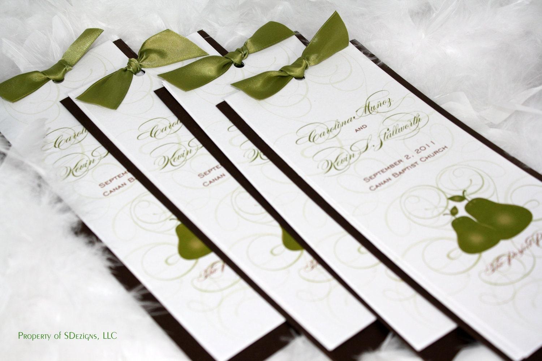 Perfect Wedding Invitations: The Perfect Pair Wedding Programs Pear Theme