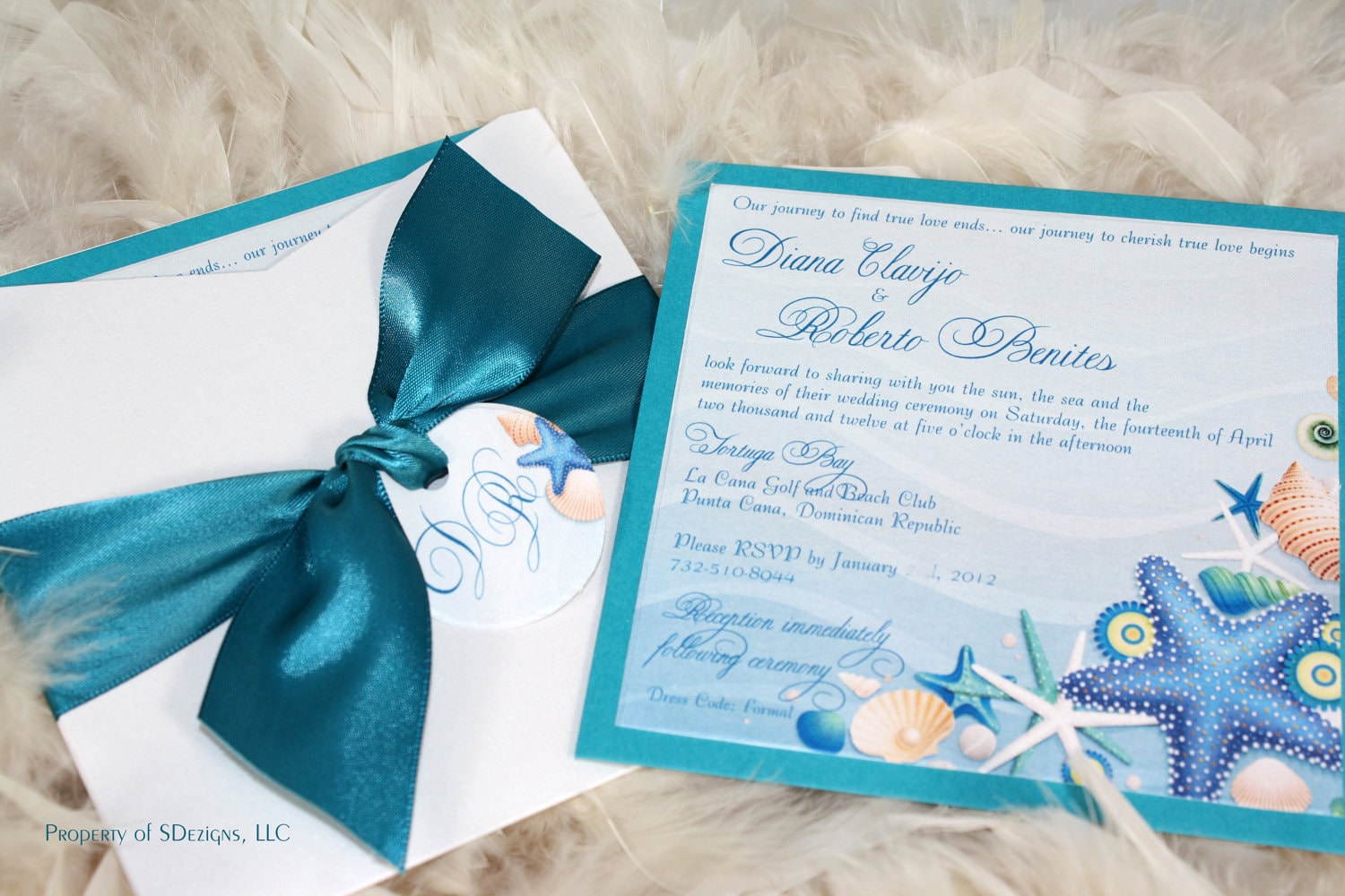 What Goes On A Wedding Invitation: Beach Wedding Invitations Sea Shells And Starfish