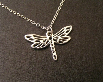 Dragonfly Sterling Silver Necklace w/ 3-inch extender