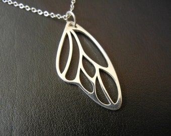 Butterfly Wing Sterling Silver Necklace with 3-inch extender