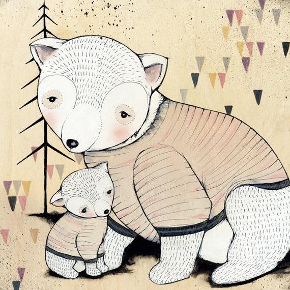 "MAMA bear BABY bear print 10""X10"""