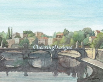 Italian Bridge original fine art watercolor
