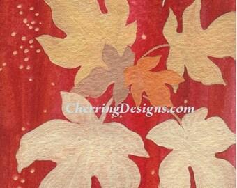 Golden Leaves Fine Art Watercolor