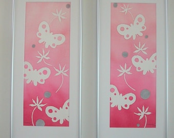 Very Pink Butterfly Diptych childrens original watercolor room decor wall art