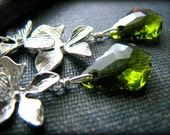 GREEN ORCHID EARRINGS Swarovski Baroque Crystals Olivine Fern Green Moss Silver Flower Cascade Dangle Earrings