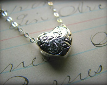 Heart Charm Necklace - Petite Floating Heart Hawaiian Heirloom Sterling Silver Plumeria Scroll Pattern - Gift Christmas Flower Girl