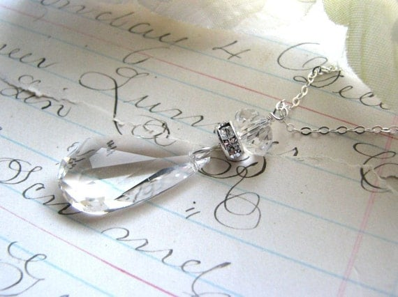 Reserved for Lana...DIAMOND SWAROVSKI CRYSTAL Necklace Clear Sterling Silver Gift Bridesmaids Bride Bridal Party Wife Fiancee