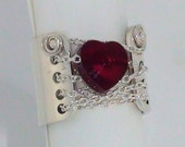 Corset Ring - Wide Band Ring - Chained to Your Heart Ring - Swarovski Crystal Ring