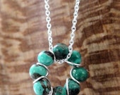 Dainty Turquoise Bead and Sterling Wire Circle Necklace