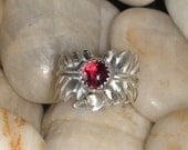 Double Leaf Garnet Cabachon Bypass Ring Silver SALE Regular Price was 69.00