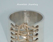Auralee's Knotted wide Band Corset Ring Sterling Silver 14K Gold Filled